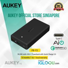 Sale Aukey 30000Mah Power Bank With Quick Charge 3 Usb C 2 Usb A Outputs Usb C Micro Usb Input For Iphone Samsung Ipad Nexus And More Aukey Online