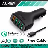 Cheap Aukey Cc T9 4 Port 55 5W Car Charger With Qualcomm Quick Charge 3 Black Online