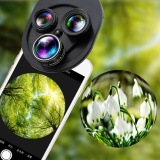 Cheaper Aukey New 4 In 1 Lens 198° Fisheye 63X Wide Angle 15X Macro Polarizer For Phone Intl