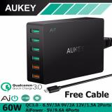 Sale Aukey Pa T11 6 Port 60W Quick Usb Charger With Qualcomm Quick Charge 3 Black Aukey Original