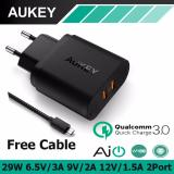 Sale Aukey Pa T16 2 Port 29W Travel Wall Quick Usb Charger With Qualcomm Quick Charge 3 Black Aukey Cheap