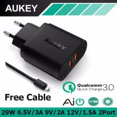 Price Comparisons Aukey Pa T16 2 Port 29W Travel Wall Quick Usb Charger With Qualcomm Quick Charge 3 Black