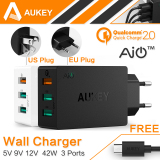 New Aukey Qualcomm Certified Quick Charge 2 42W 3 Usb Ports Usb Travel Desktop Charger Qc 2 Black Intl