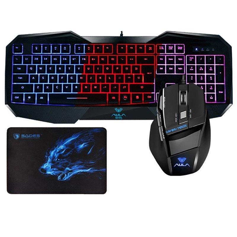 AULA 3 Colorways LED Backlit Gaming Keyboard and Mouse Combo Backlit Wired USB with Gaming Mouse Pad (EXPORT) - INTL Singapore