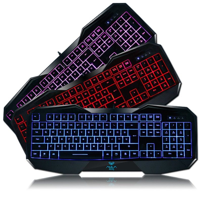 AULA Backlit Gaming Keyboard with Adjustable Backlight Purple Red Blue USB Wired Illuminated Computer Keyboard Singapore