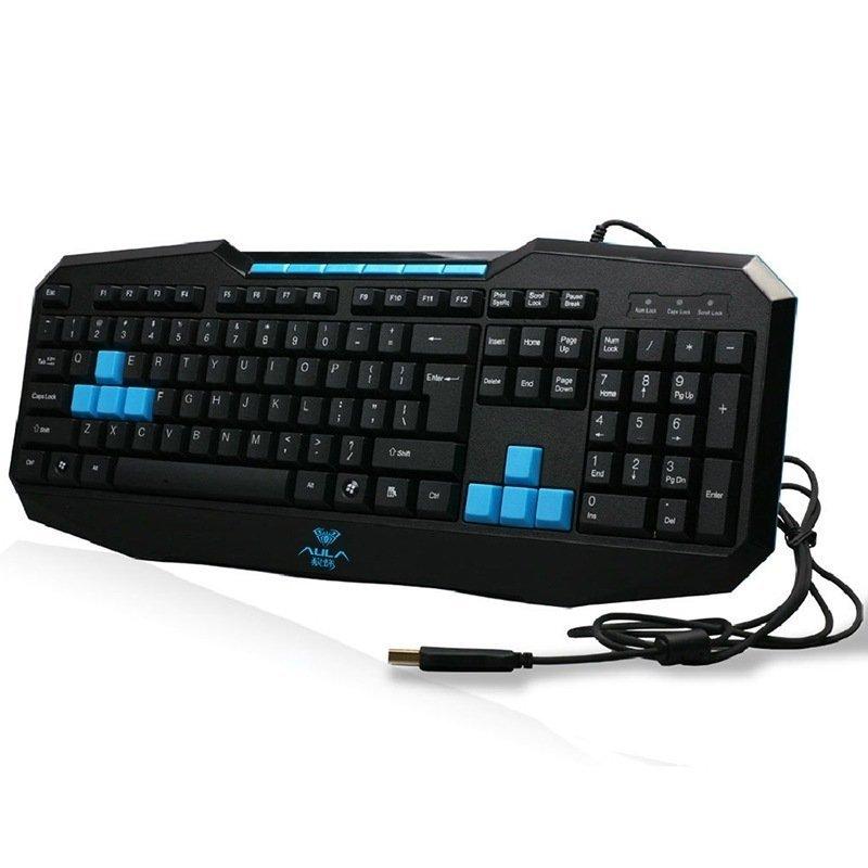 AULA Ergonomic USB Gaming Multimedia Wired Keyboard (Black) (EXPORT) - INTL Singapore