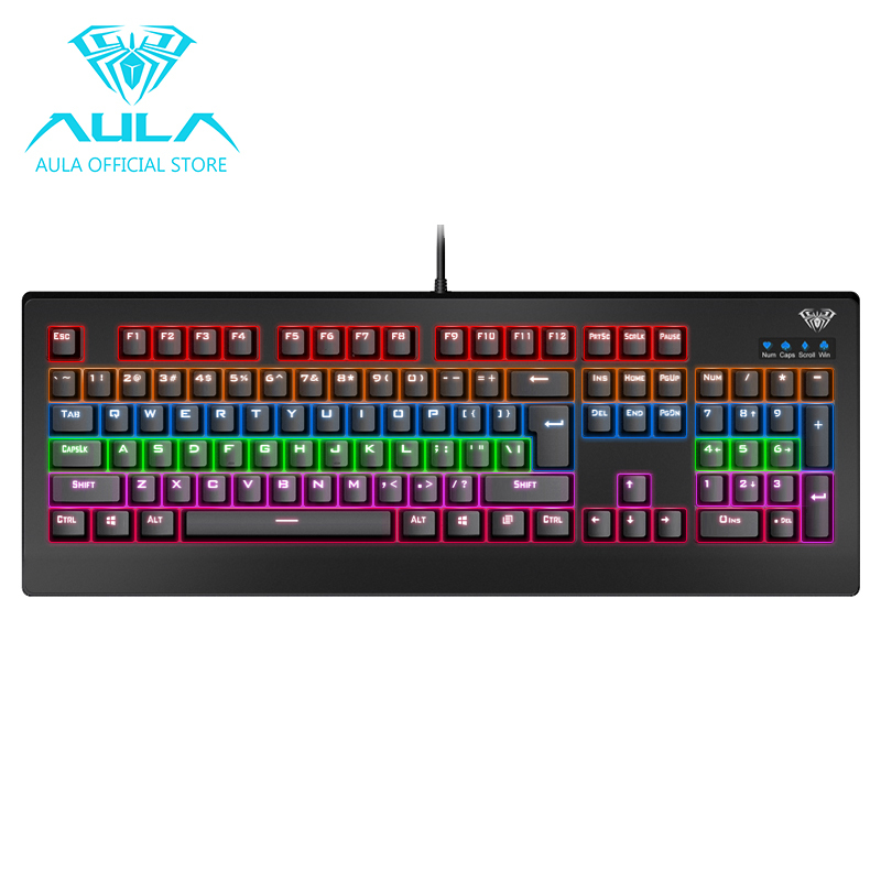 AULA OFFICIAL Demon King Mechanical Gaming Keyboard 104keys Rainbow Backlit(Black) Singapore