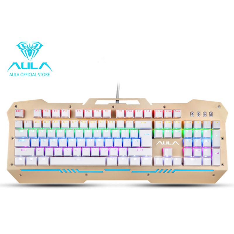 AULA OFFICIAL F2009 Mechanical Gaming Keyboard 104Keys Multicolors RGB Backlit(Gold) Singapore