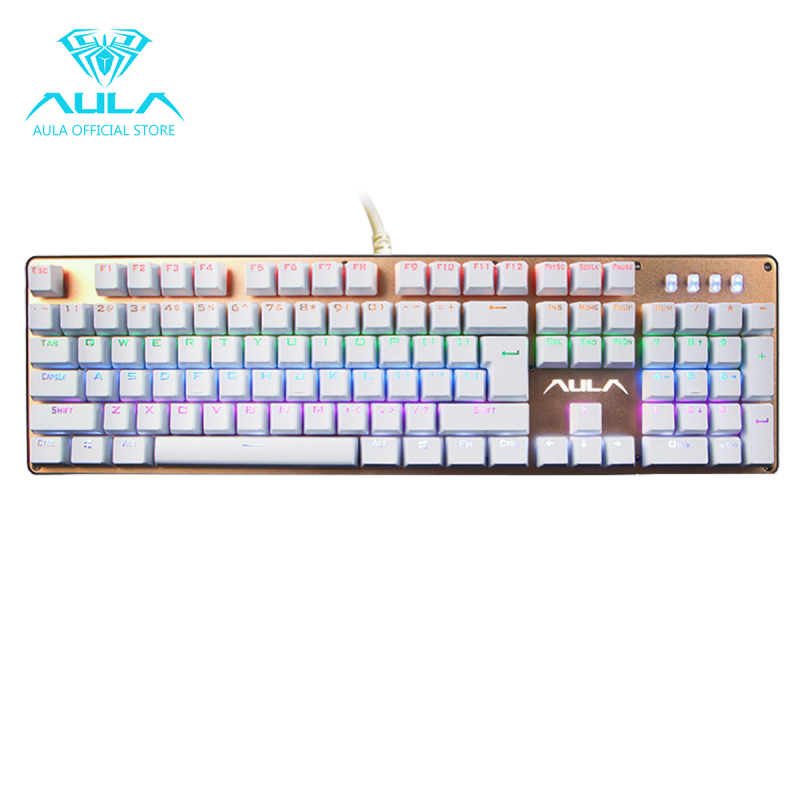 AULA OFFICIAL F2010 Mechanical Multicolors Backlit Gaming Keyboard(Gold) Singapore