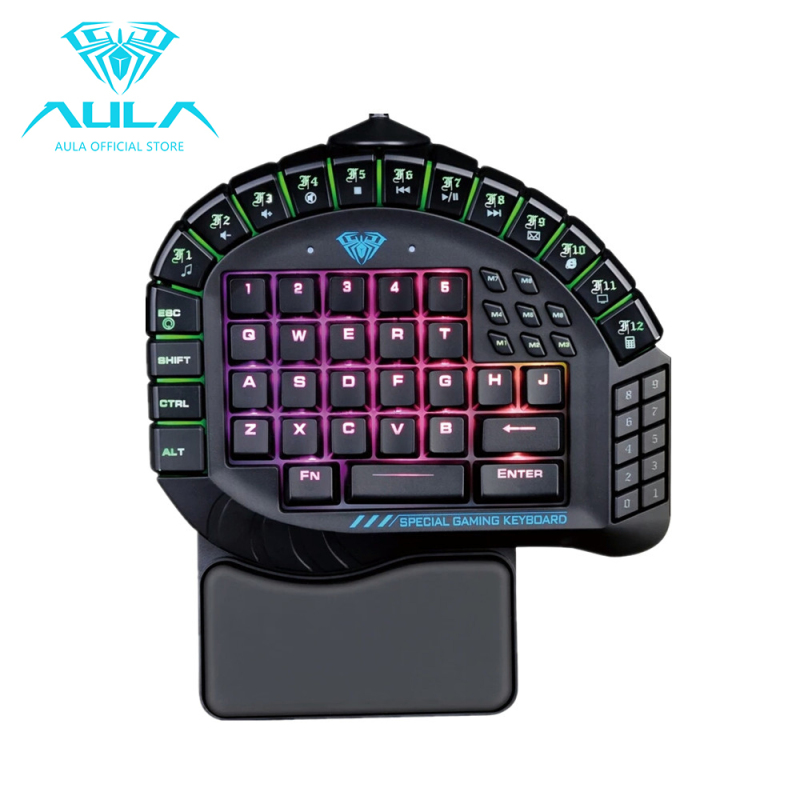 AULA OFFICIAL Master One-hand Gaming Keyboard Removable Hand Rest RGB Backlight Mechanical Keyboard - intl Singapore