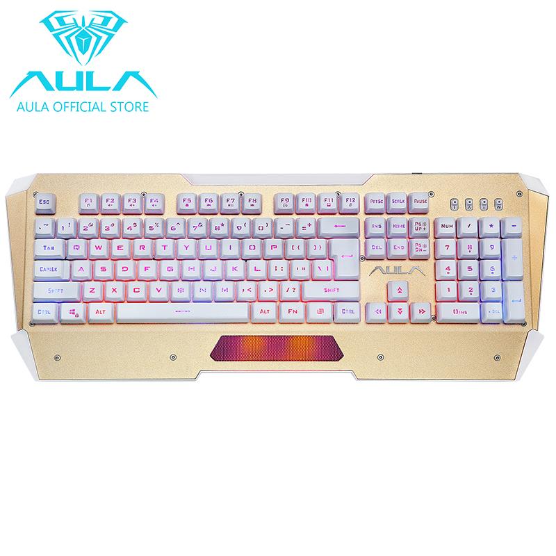 AULA OFFICIAL Nimble Edge USB Led Backlight Gaming Keyboard(Gold) Singapore