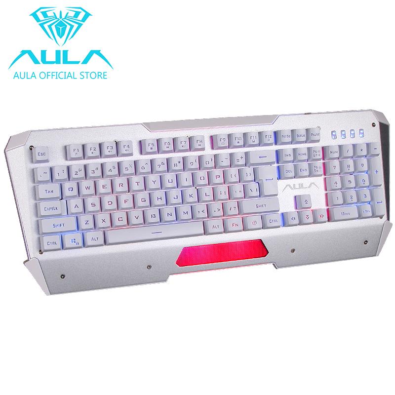 AULA OFFICIAL Nimble Edge USB Led Backlight Gaming Keyboard(Silver) Singapore