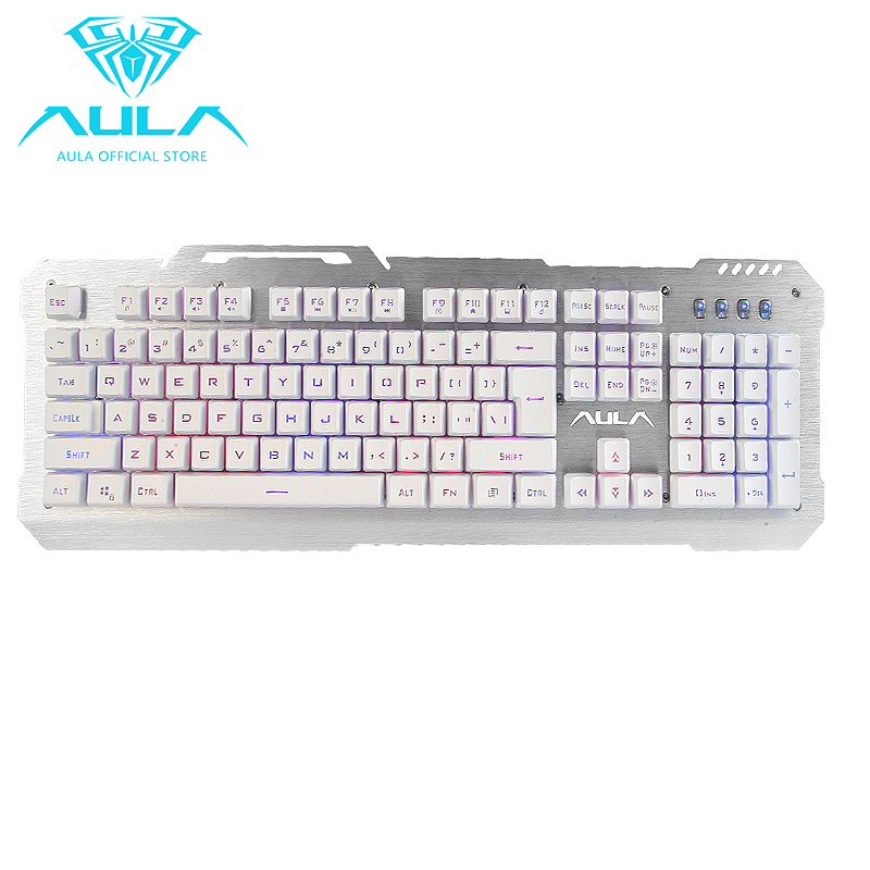 AULA OFFICIAL Waterproof USB Mechanical feel Gaming Keyboard(Silver) Singapore
