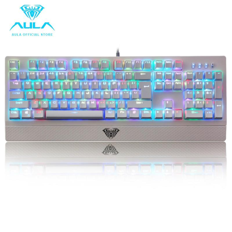 AULA OFFICIAL Wings of Liberty RGB Mechanical Gaming Keyboard 104keys Multicolors LED Backlit White(Black Switch) Singapore