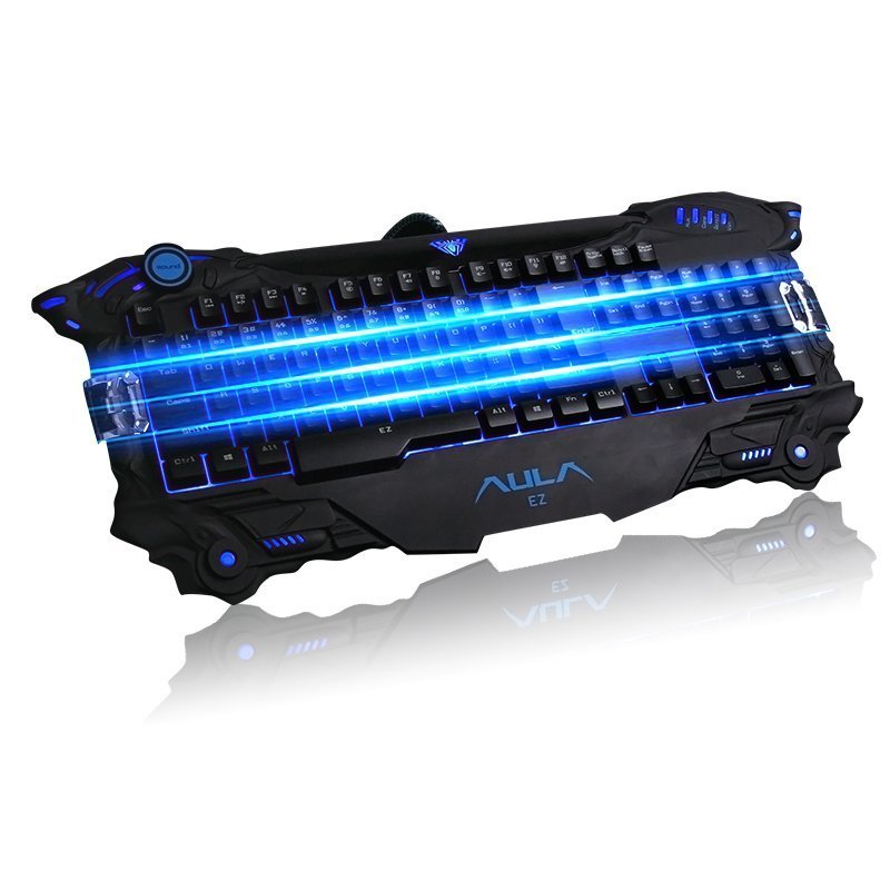 AULA SURPRISE EVIL Ergonomic Blue Backlit USB Gaming Keyboard Multimedia Wired Keyboard (Black) (EXPORT) - INTL Singapore
