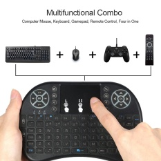 Backlit 2.4ghz Wireless Keyboard Air Mouse Touchpad Handheld Remote Control Backlight For Android Tv Box Pc Smart Tv Black - Intl.