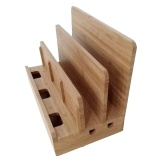 Promo Bamboo Phone Charging Stand Wood Desktop Cord Organizer Dock Station Tablet Stand Holder With 3 Slots Intl