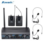 Cheaper Baomic D 332 Professional Dual Channel Uhf Digital Wireless Headset Microphone System 2 Microphones 1 Receiver 6 35Mm Audio Cable For Karaoke Family Party Performance Presentation Public Address Intl