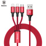 Top 10 Baseus Lightning To Usb Charging Cable Braided Usb To Lightning Usb C Micro 3 In 1 Multiple 3A Quick Usb Charging Cable For Iphone 7 7 Plus 6 6S Plus Ipad Macbook Galaxy S8 Plus Red Intl