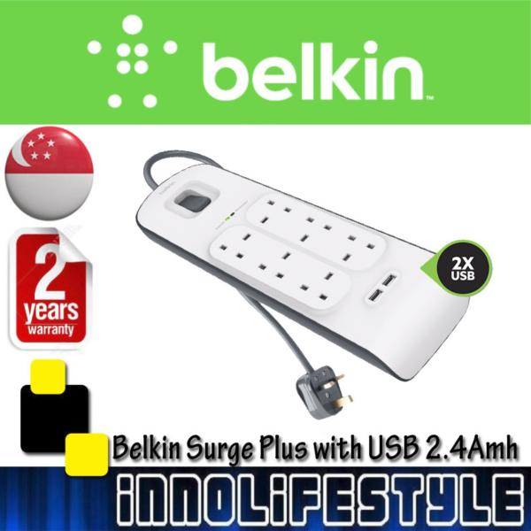 Belkin 6 Outlets 2M Surge Protection Strip with 2 USB Ports