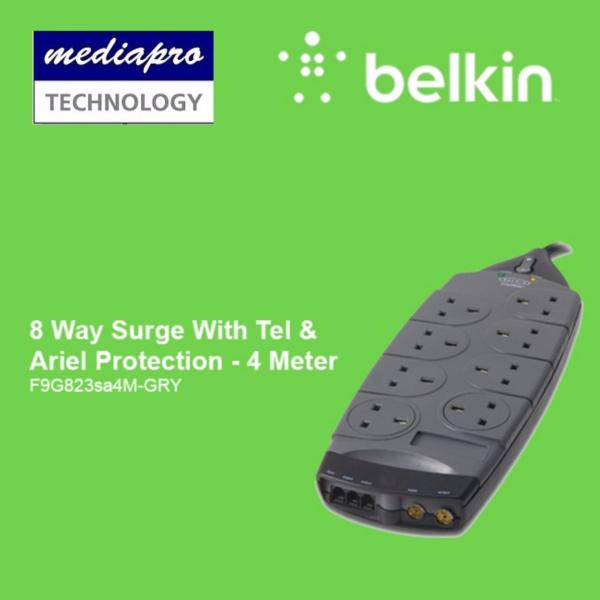 BELKIN F9G823SA4M Gold Series 8 Socket Surge Protector - 4 Meter - Local Distributor Warranty