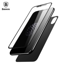 Get The Best Price For Black Baseus For Iphone X Front Back Premium Tempered Glass Film 3D Full Cover Rear Toughened Screen Protector Film For Iphone X 10 Intl