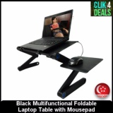 Purchase Black Multifunctional Foldable Laptop Table With Mousepad Online