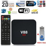 Best Rated Black V88 Tv Box Rk3229 Quadcore 4K Wifi Hdmi Android 5 1 1G 8G Smart Tv Box Intl