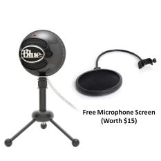 Price Blue Microphones Snowball Ice Usb Microphone Glossy Black With Free Black Screen Blue Microphones