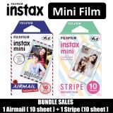 Buy Bundle Sales Fujifilm Airmail 10 Sheet And Stripe 10 Sheet Instax Mini Film Fujifilm Instax Online