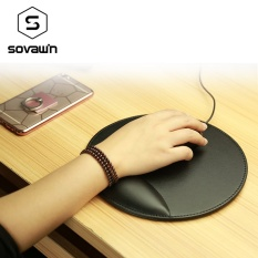 Business 3D Leather Computer Mouse Pad with Wrist Rest Ergonomic Office Soft Sponge Wrist Support Mat mousepad for PC - intl