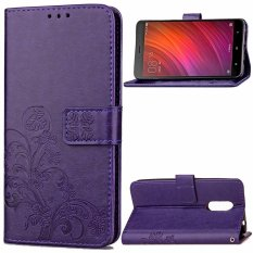 BYT Flower Debossed Leather Flip Cover Case for Xiaomi Redmi Note 4X(Purple) -
