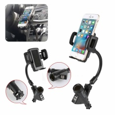 Car Universal Mobile Phone Holder Car Holder Dual Usb Charger Mount Holder Stand Intl Cheap