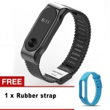 Colorful Silicone Replacement Wrist Strap Stainless Steel Metal Straps For Xiaomi Mi Band 2 Intl Deal