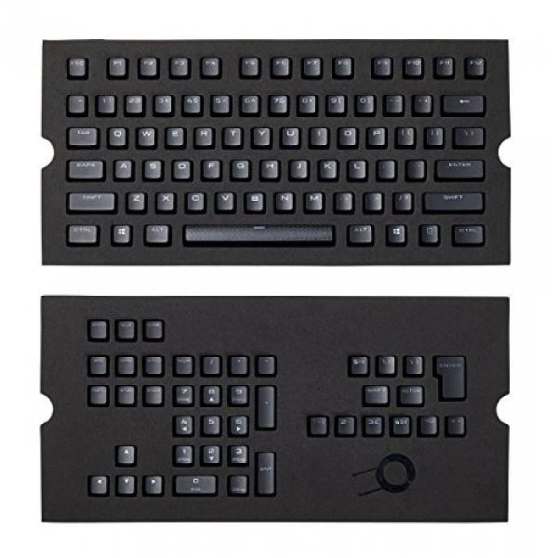CORSAIR PBT Double-shot Keycaps Full 104/105-Keyset - RGB & Backlit Compatible – For Mechanical Keyboards - FPS MOBA MMO - Black - intl Singapore