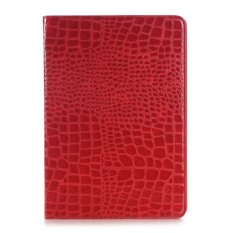 New Crocodile Pattern Pu Leather Protective Case Folio Clam Shell Cover With Card Slots Pocket For Samsung Galaxy Tab S2 8 Inch Sm T710 Red