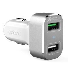 Shop For Dodocool 30W 2 Port Usb Car Charger With Quick Charge 3 For Lg G5 Htc One A9 Xiaomi Mi 5 Letv Le Max Pro And More Usb Powered Devices White Silver Intl Neutral