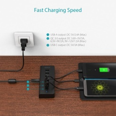 dodocool 7-Port Hub with 4 Data Transfer USB 3.0 Ports and 3 Charging Ports for Charging QC 3.0 / USB-A / USB-C Enabled Devices 60W 15V/4A Power Adapter Included Black EU Plug - intl
