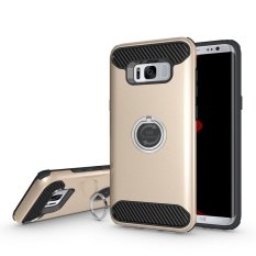 Dual Layer PC+ TPU Shockproof Ring Stand Back Case Cover for Samsung Galaxy S8 Gold -