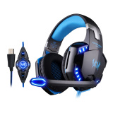 Each G2200 Usb 7 1 Surround Sound Vibration Gaming Headphone Computer Headband With Microphone Led Light Black Blue Export On Hong Kong Sar China