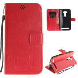 Brand New Embossing Leather Flip Case Stand Cover For Asus Zenfone 2 Laser Ze551Kl 5 5 Inch Red Intl