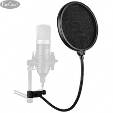 Esogoal Studio Microphone Mic Round Shape Wind Pop Filter Mask Shield With Stand Clip Recording Vocals Home (black) - Intl By Esogoal.