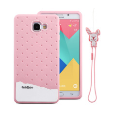 Fabitoo Cute ice cream silicone back cover case For Samsung Galxay A9 With lanyard -Pink