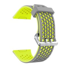 Latest Fashion Silicone Breathable Hole Replacement Watchband Smart Bracelet Watch Wrist Band Strap For Fitbit Ionic Watch Grey Green Intl