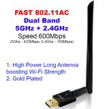For Sale Fast Gold Plated Wireless Ac600 Dual Band 2 4Ghz 5Ghz Usb Wi Fi Adapter ✮ Long Antenna 6Dbi For Extra Strength