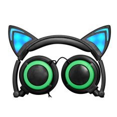 Foldable Cat Ear Gaming On-Ear Headphone with LED Light(Green) - intl