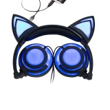 Compare Foldable Flashing Glowing Cat Ear Headphones Gaming Headset Music Earphone With Led Light For Pc Laptop Computer Mobile Phone Blue Black Intl