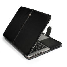 Folio Case Cover for MacBook Pro 13.3 with CD-ROM 13 inch Sleeve- Premium Quality PU Leather Book Cover Clip ((Model:A1278) , Black)