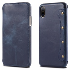 For Apple Iphone X Leather Case Simple Luxury 100 Genuine Top Cow Oil Wax Leather Cell Phone Wallet Case Vintage Designer Folio Flip Cover With Card Slot Intl On Line