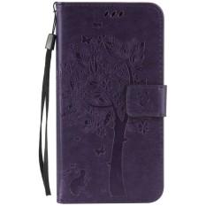 For Asus Zenfone 4 Selfie Pro ZD552KL Purple Emboss Flower High Quality Leather Wallet Card Slot
